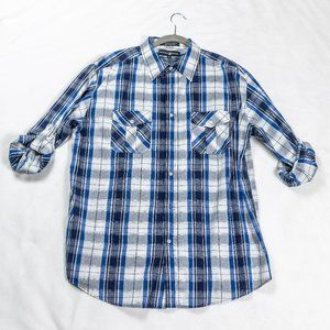 Beverly Hills Polo Club Plaid Button Down Shirt